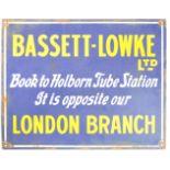 RARE ANTIQUE BASSETT LOWKE ENAMEL ADVERTISING SIGN