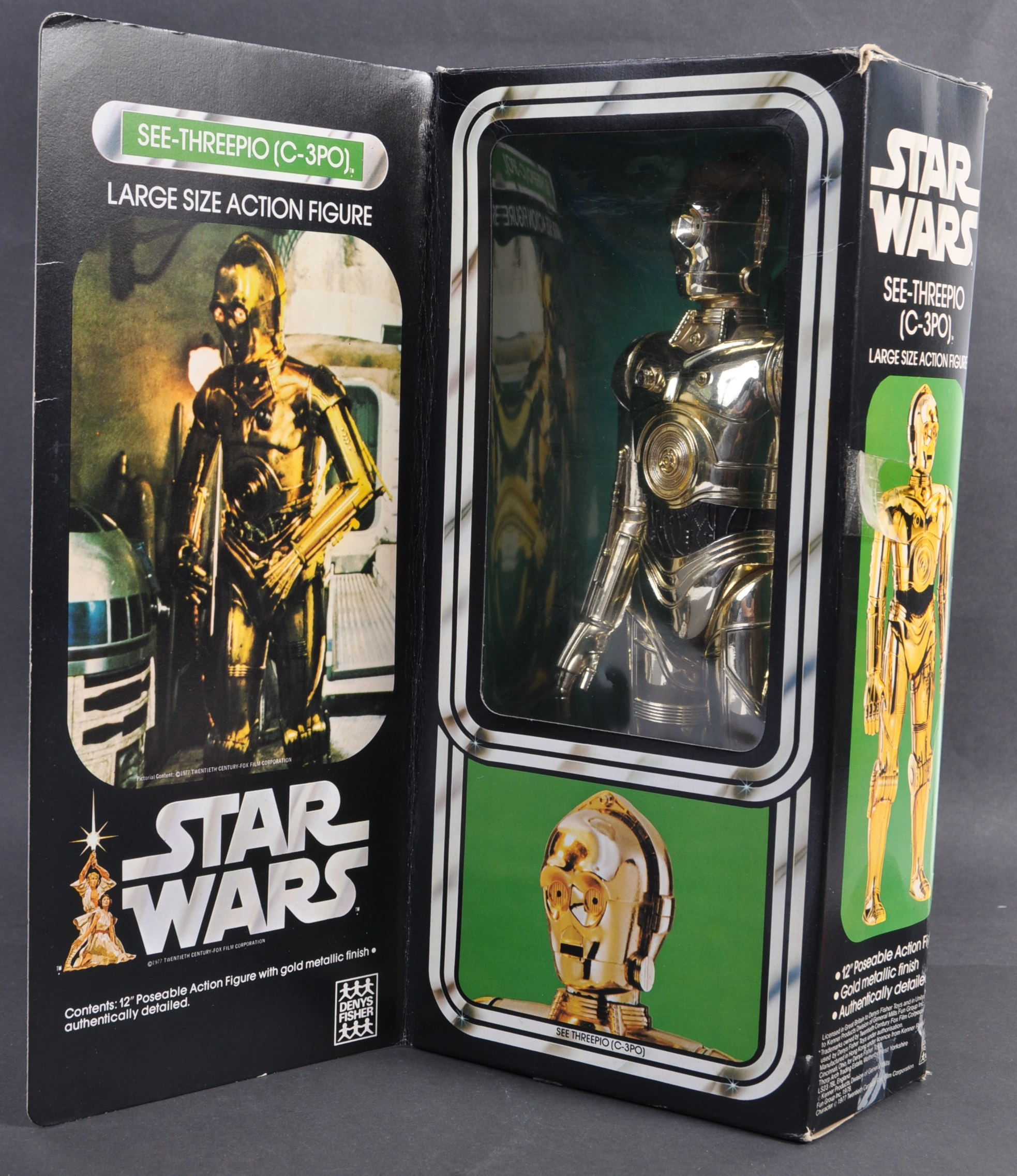"""STAR WARS - RARE DENYS FISHER 12"""" C3PO BOXED ACTION FIGURE"""