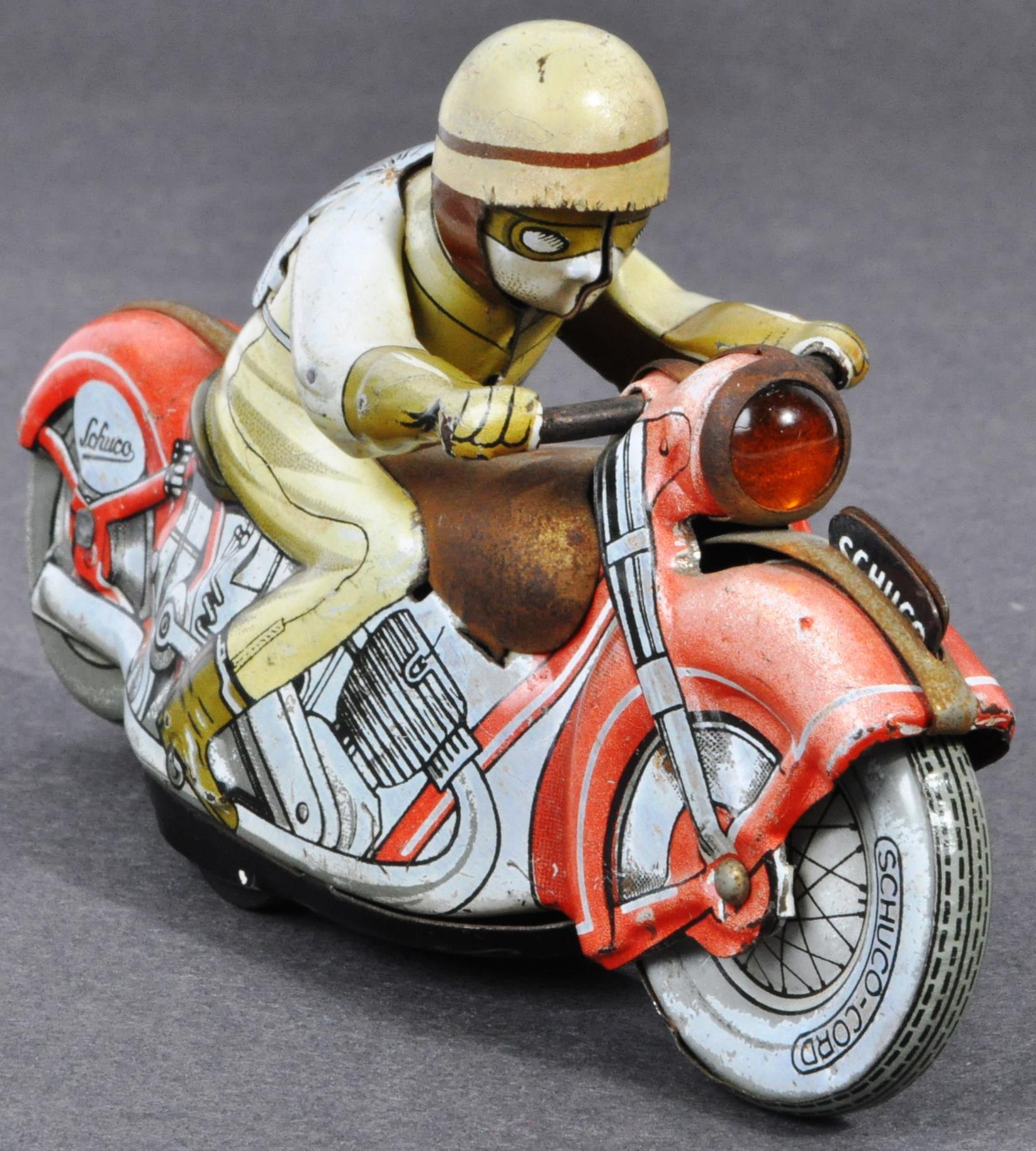ORIGINAL VINTAGE SCHUCO TINPLATE RACING MOTORCYCLE - Image 3 of 8