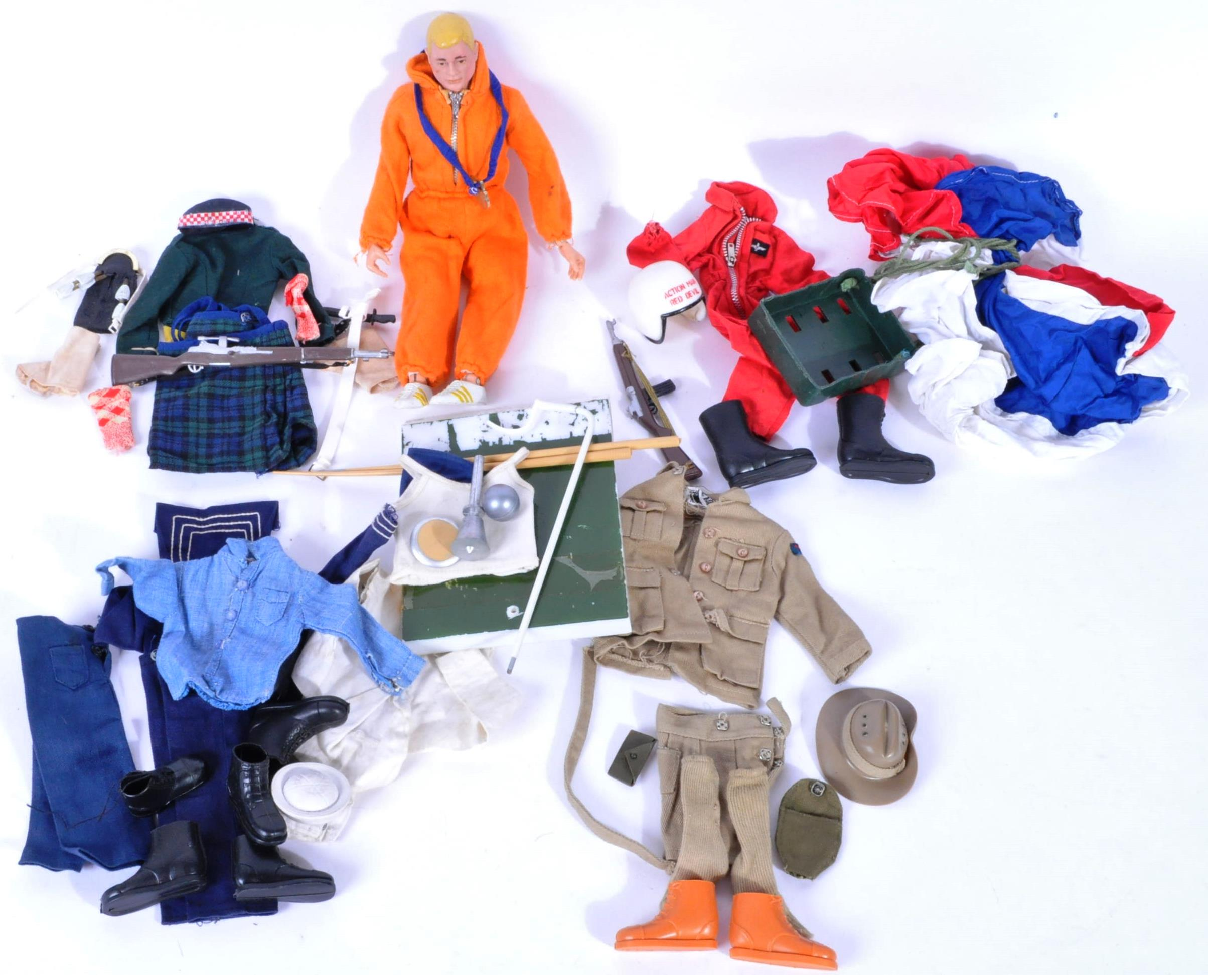 ACTION MAN - COLLECTION OF VINTAGE PALITOY UNIFORMS & FIGURE