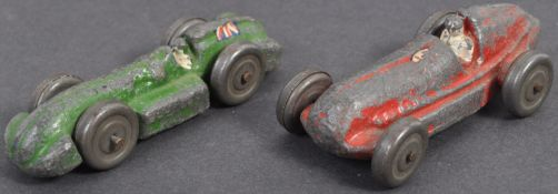 TWO ANTIQUE EARLY 19TH CENTURY ANTIQUE LEAD RACING CARS