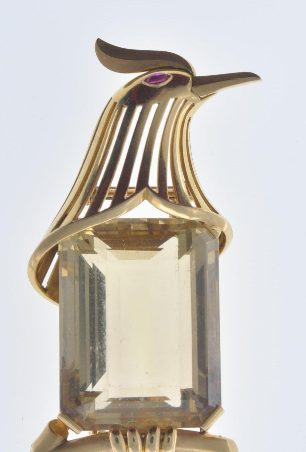 FRENCH 18CT GOLD AND CITRINE BIRD CLIP - Image 4 of 8