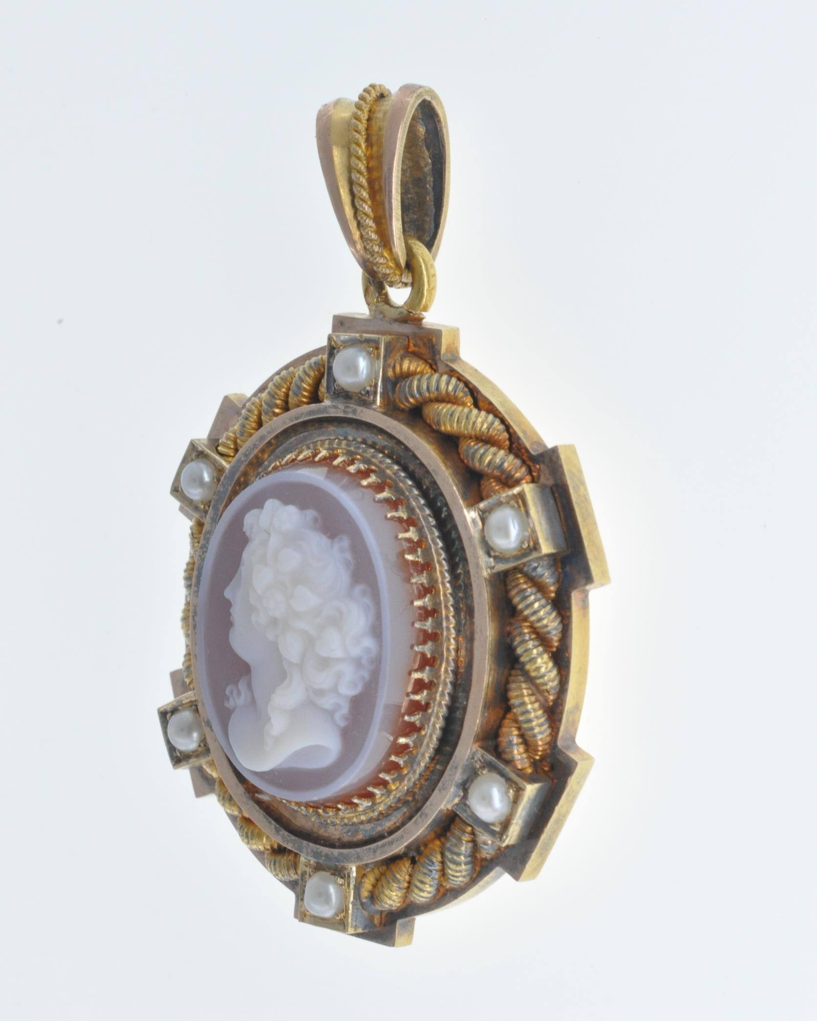 ANTIQUE SEED PEARL AND CAMEO LOCKET PENDANT - Image 4 of 8