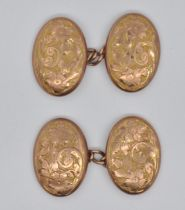 PAIR OF 9CT GOLD FLORAL ENGRAVED CUFFLINKS