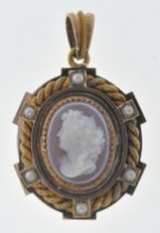 ANTIQUE SEED PEARL AND CAMEO LOCKET PENDANT