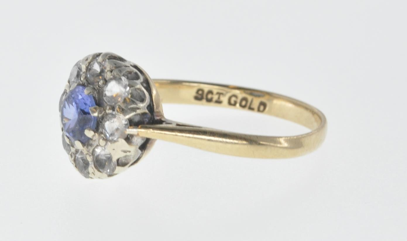 9CT GOLD BLUE AND WHITE STONE CUSTER RING - Image 3 of 6