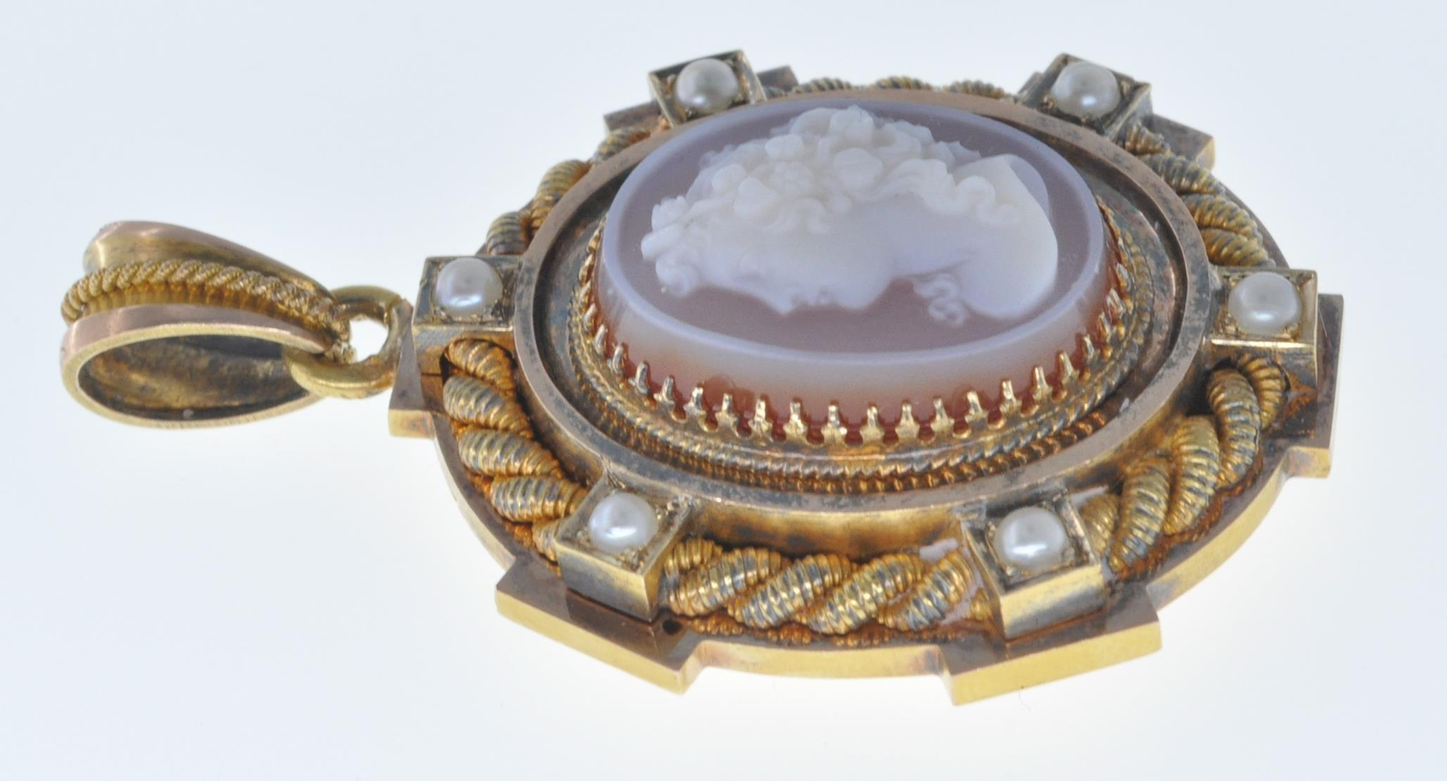 ANTIQUE SEED PEARL AND CAMEO LOCKET PENDANT - Image 5 of 8