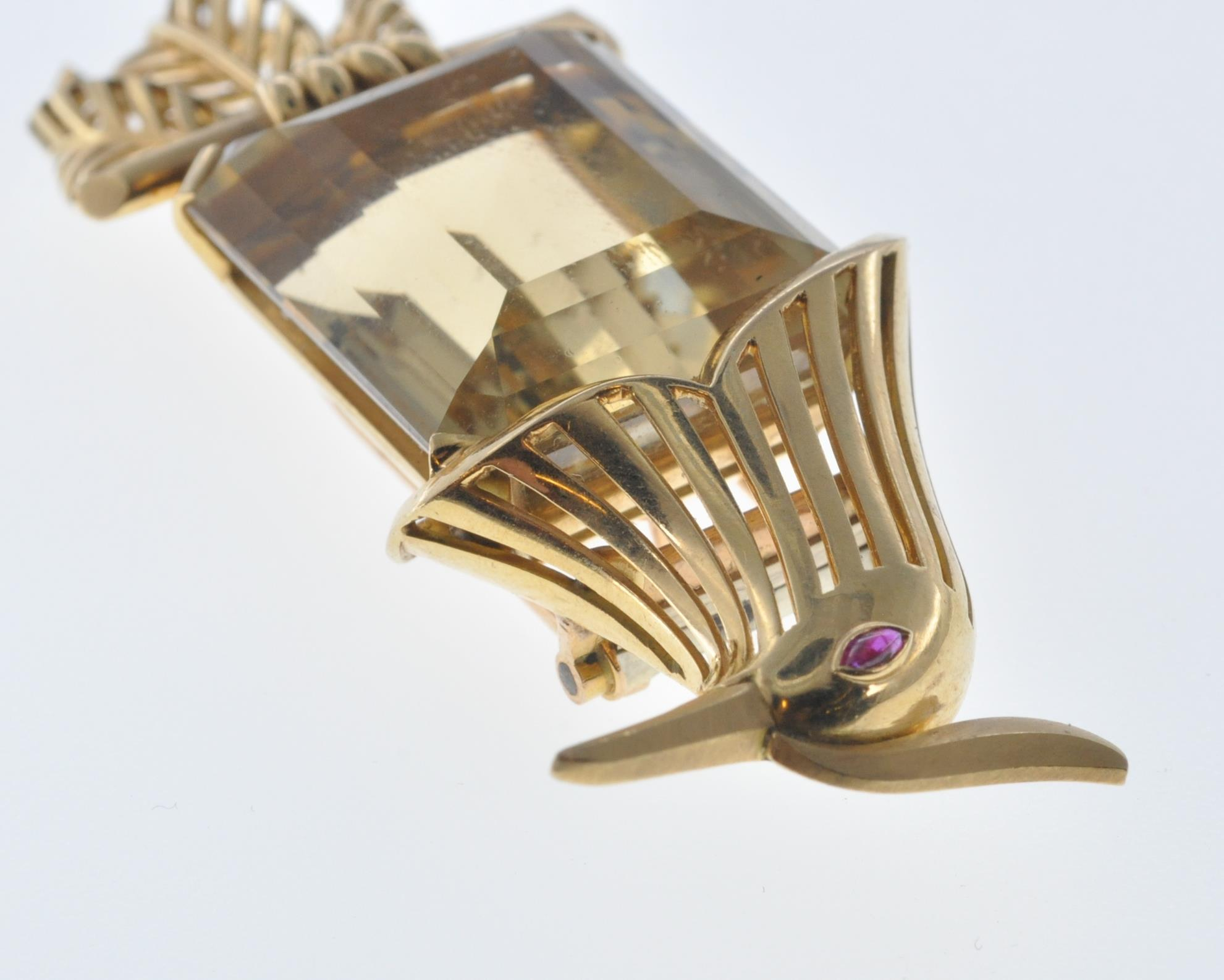 FRENCH 18CT GOLD AND CITRINE BIRD CLIP - Image 8 of 8