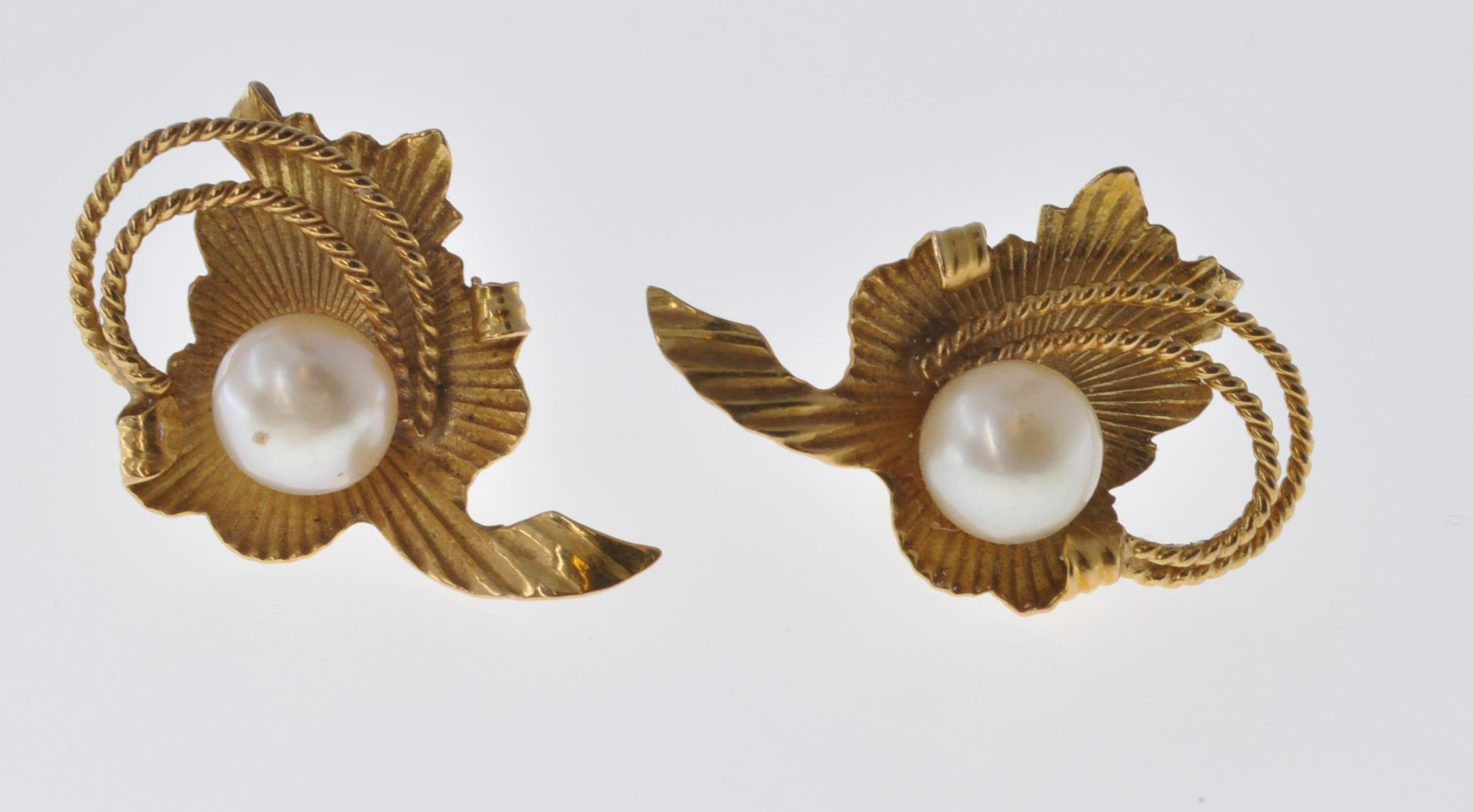 18CT GOLD AND PEARL EARRINGS - Image 3 of 6