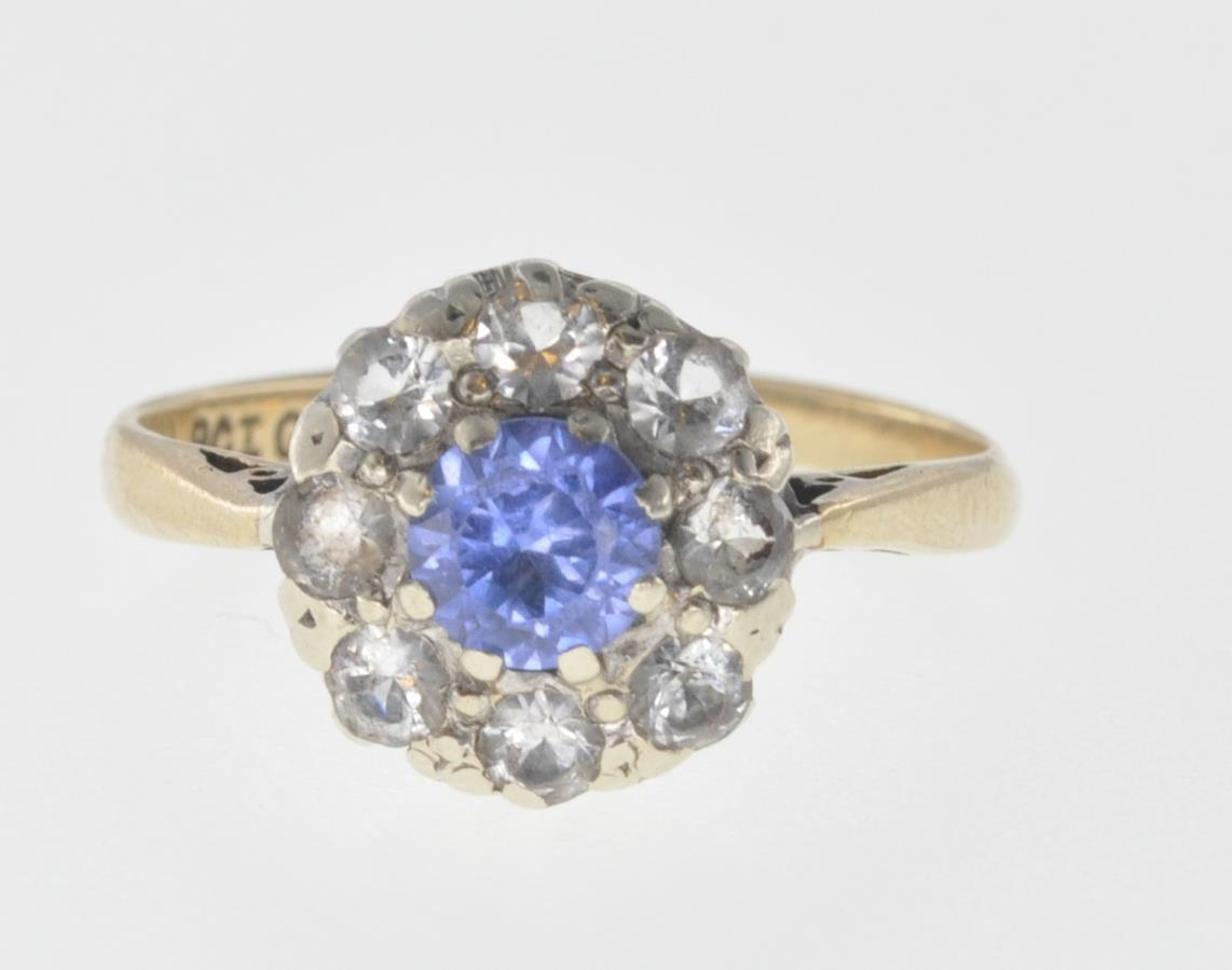9CT GOLD BLUE AND WHITE STONE CUSTER RING - Image 2 of 6