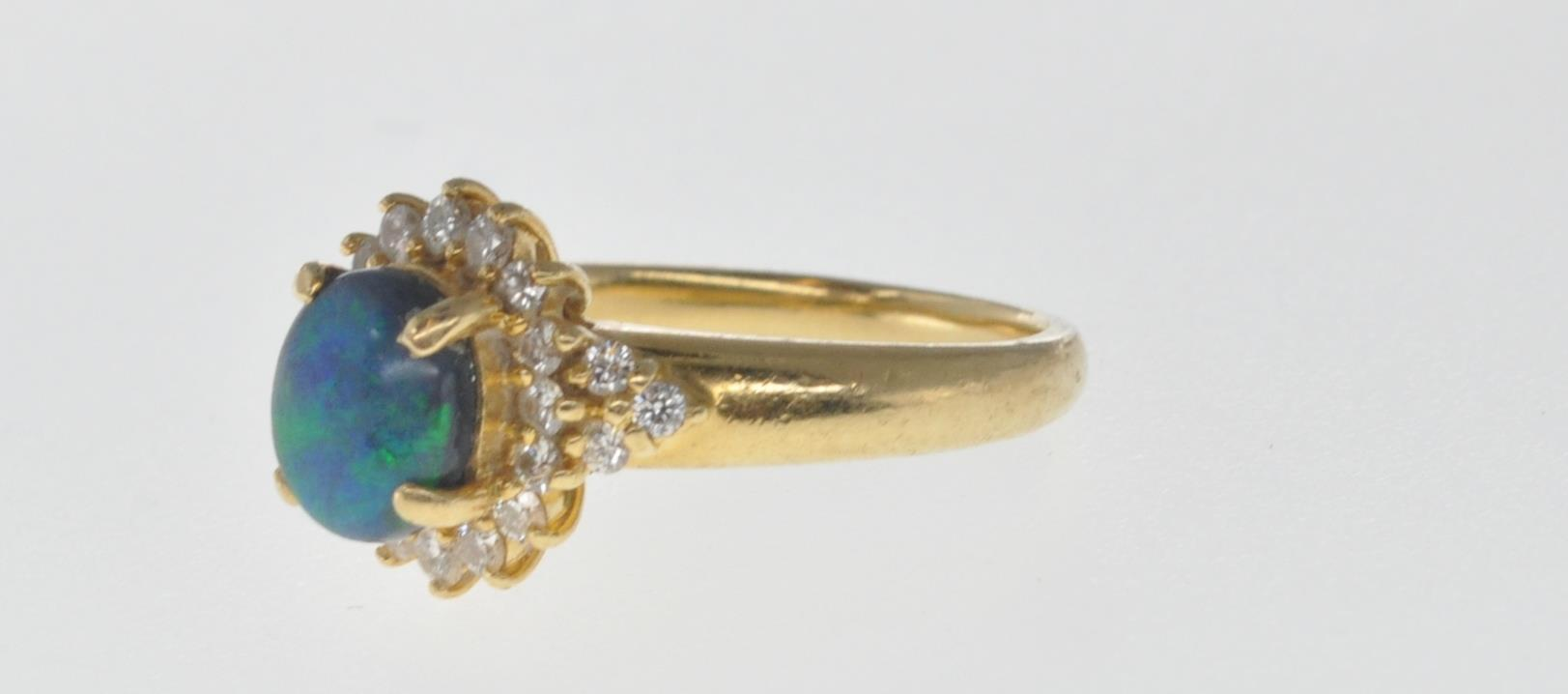 18CT GOLD BLACK OPAL AND DIAMOND RING - Image 4 of 7