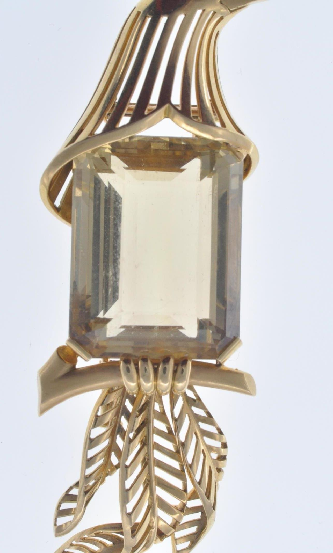 FRENCH 18CT GOLD AND CITRINE BIRD CLIP - Image 3 of 8