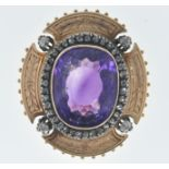 FRENCH ANTIQUE AMETHYST AND DIAMOND BROOCH