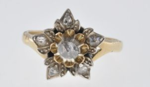 GOLD AND ROSE CUT DIAMOND FLOWER RING