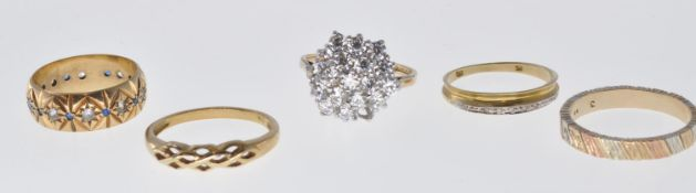 GROUP OF FIVE VARIOUS 9CT GOLD RINGS
