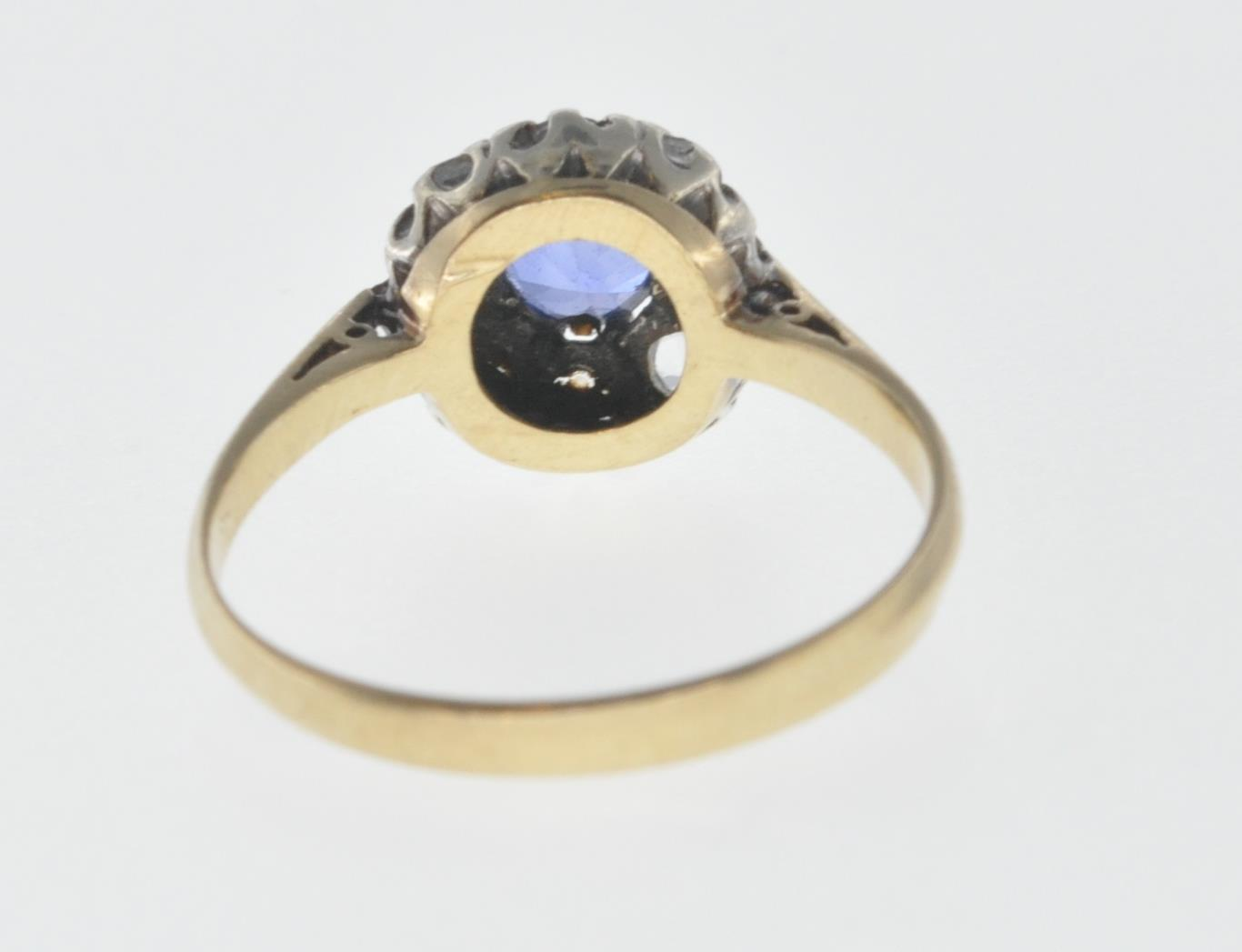 9CT GOLD BLUE AND WHITE STONE CUSTER RING - Image 4 of 6