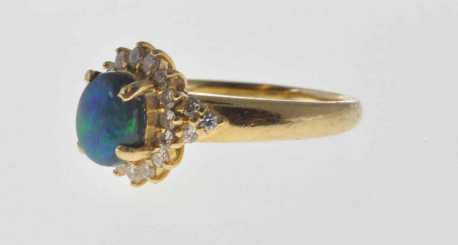 18CT GOLD BLACK OPAL AND DIAMOND RING - Image 3 of 7