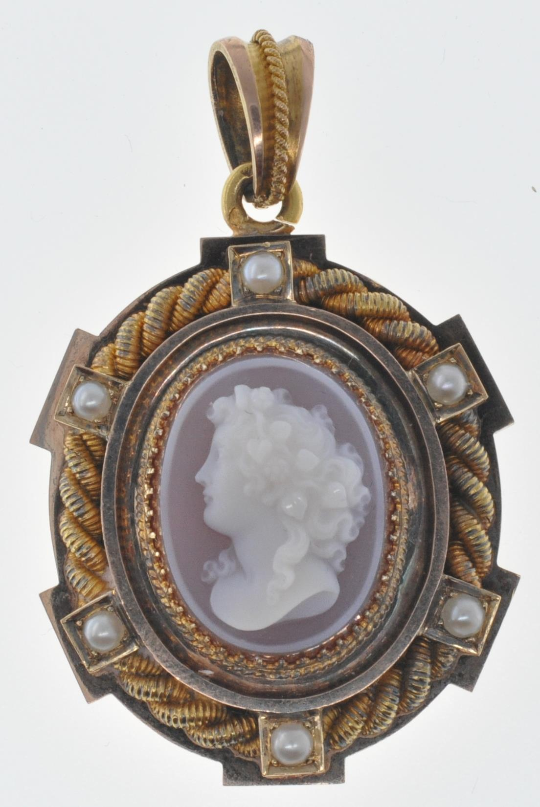 ANTIQUE SEED PEARL AND CAMEO LOCKET PENDANT - Image 2 of 8