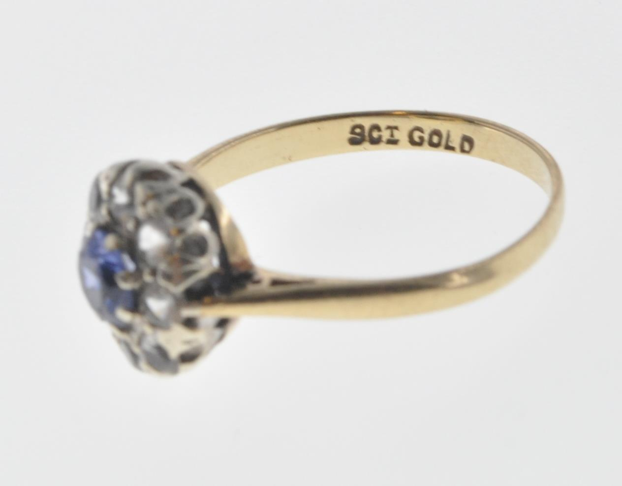 9CT GOLD BLUE AND WHITE STONE CUSTER RING - Image 5 of 6