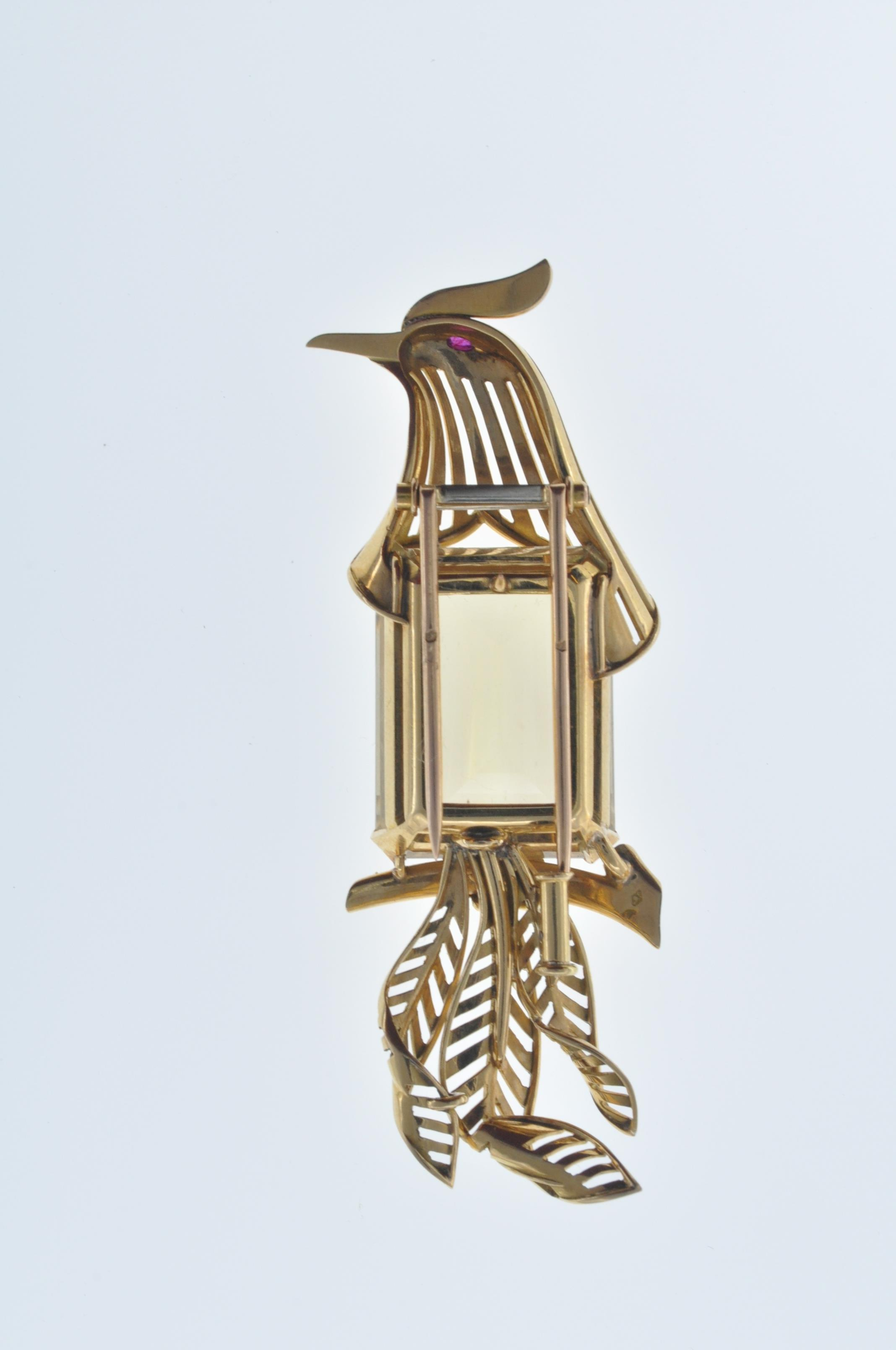 FRENCH 18CT GOLD AND CITRINE BIRD CLIP - Image 7 of 8