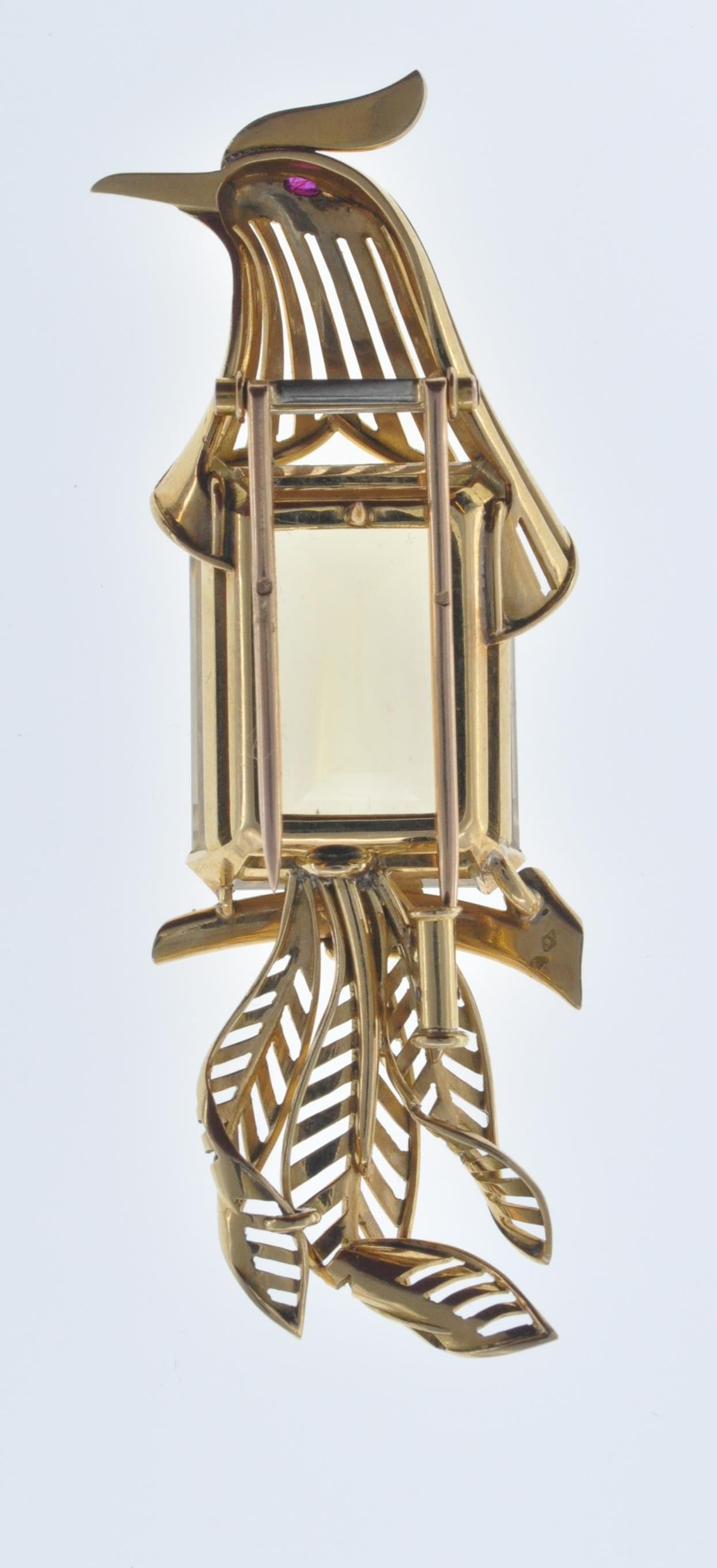 FRENCH 18CT GOLD AND CITRINE BIRD CLIP - Image 6 of 8