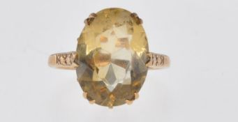 9CT GOLD AND CITRINE DRESS RING