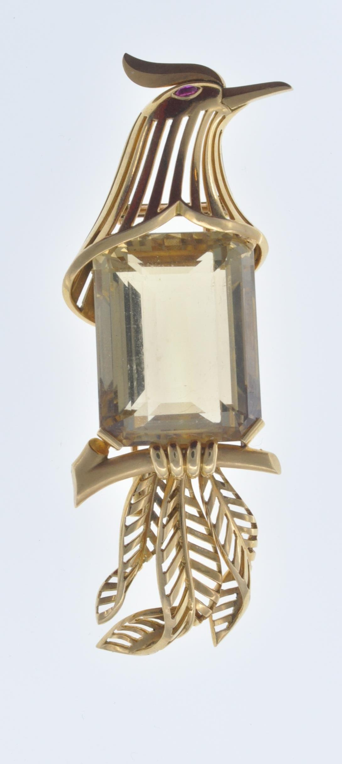 FRENCH 18CT GOLD AND CITRINE BIRD CLIP