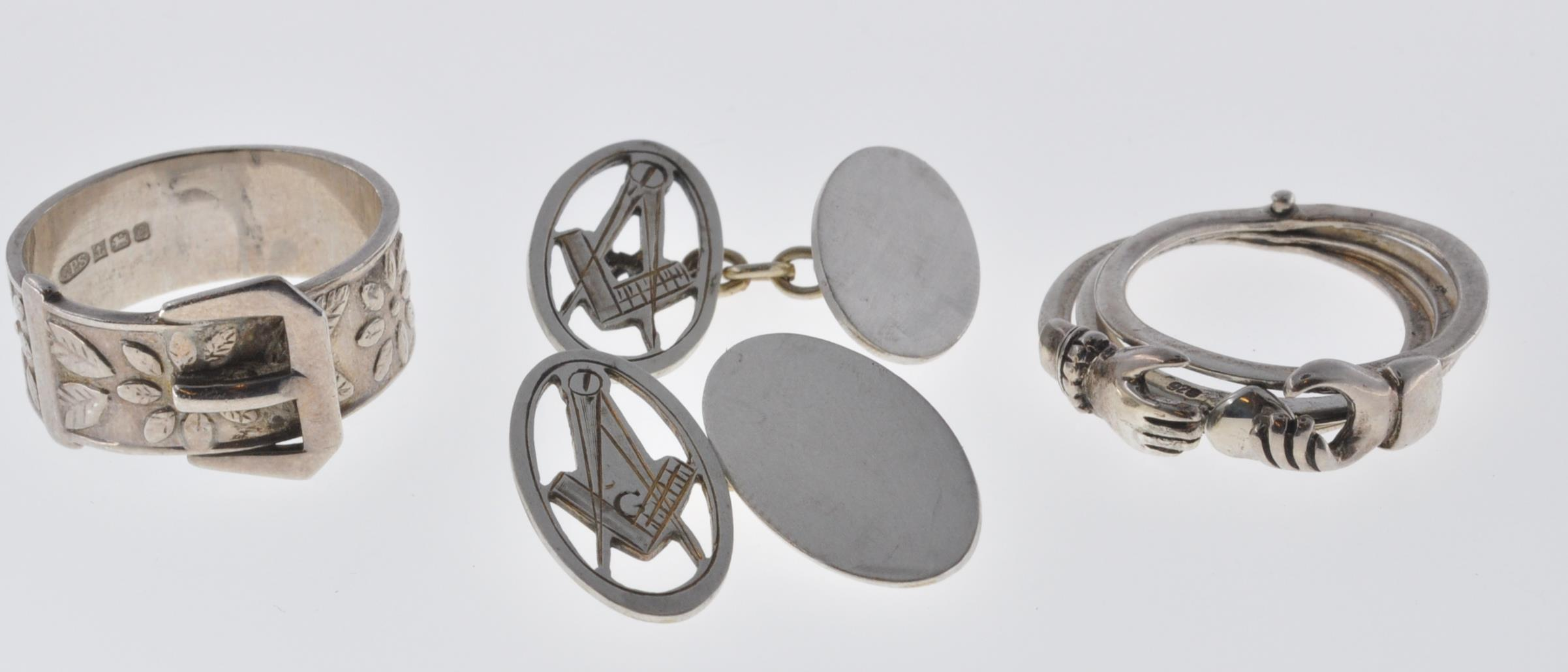 VINTAGE MASONIC CUFFLINKS AND TWO SILVER RINGS