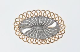 VINTAGE GOLD AND DIAMOND OVAL BROOCH