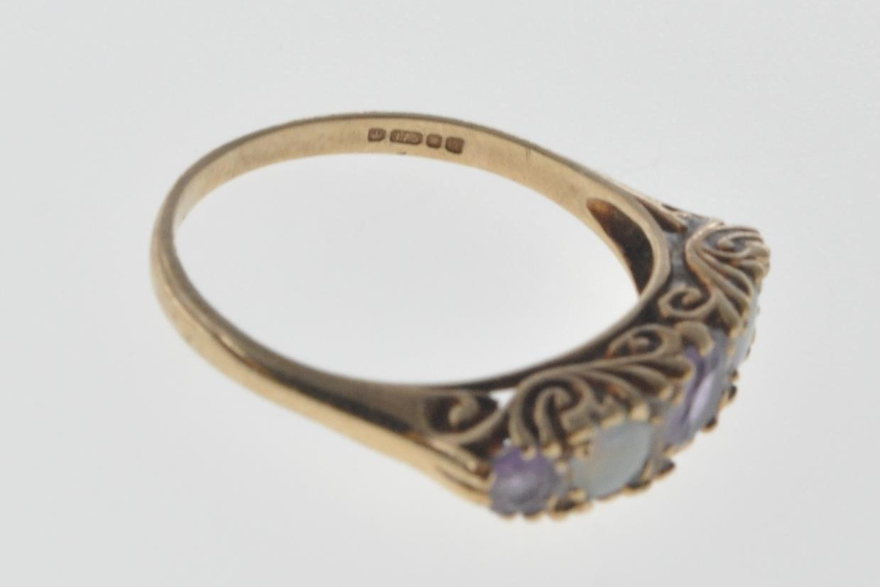 9CT GOLD RING SET WITH OPAL CABOCHONS AND PURPLE STONES. - Image 4 of 8