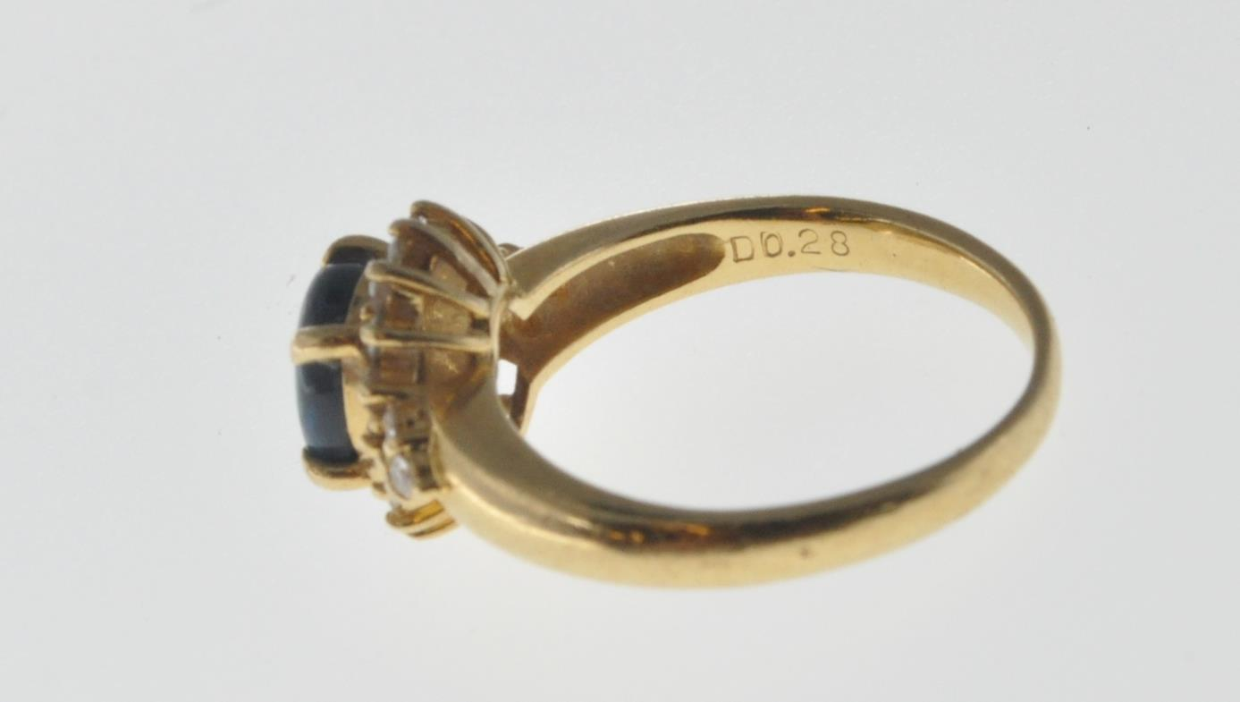 18CT GOLD BLACK OPAL AND DIAMOND RING - Image 6 of 7