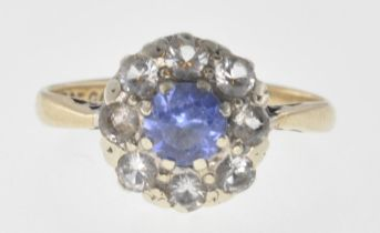 9CT GOLD BLUE AND WHITE STONE CUSTER RING