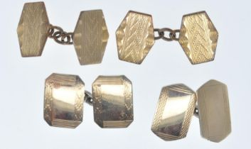 TWO PAIRS OF VINTAGE GOLD FRONT AND BACK CUFFLINKS