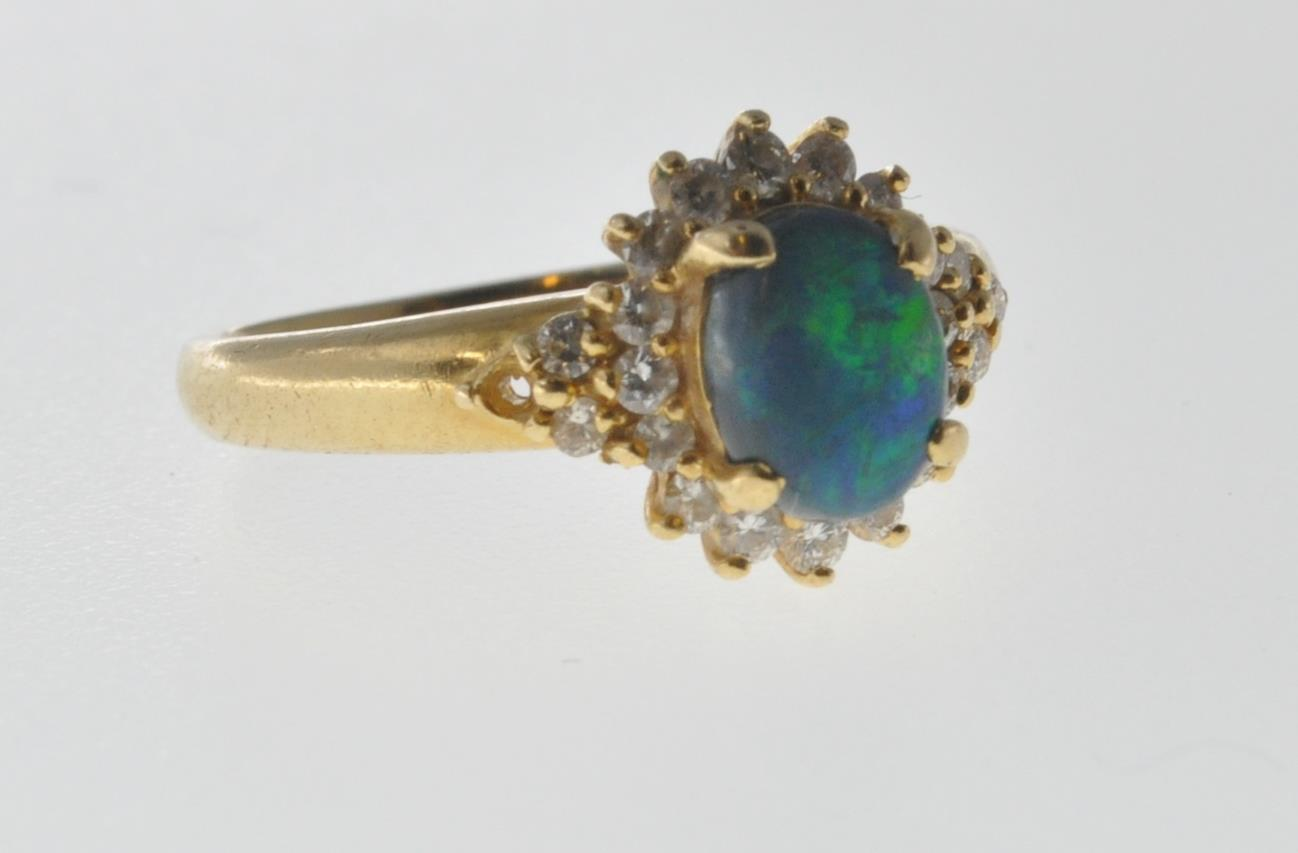 18CT GOLD BLACK OPAL AND DIAMOND RING - Image 2 of 7