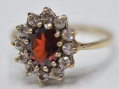 9CT GOLD RED AND WHITE STONE CLUSTER RING