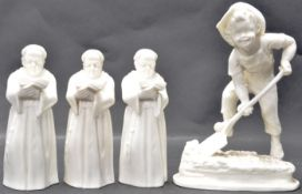 FOUR 20TH CENTURY UNMARKED ROYAL WORCESTER CERAMIC PORCELAIN FIGURINES