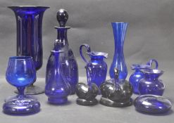 COLLECTION OF 20TH CENTURY BRISTOL BLUE GLASS.