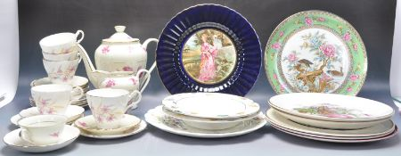 COLLECTION OF CHINA TO INCLUDE ROYAL STUART, LIMOGES AND WADE.