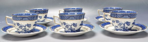 SET OF VINTAGE ROYAL DOULTON BOOTHS REAL OLD WILLOW TEA CUPS AND SAUCERS