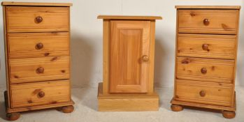 A COUNTRY PINE VICTORIAN STYLE BEDSIDE CHEST AND CUPBOARD