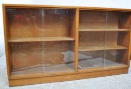 MID 20TH CENTURY TEAK WOOD SLIDING GLASS DOORS BOOKCASE CABINET