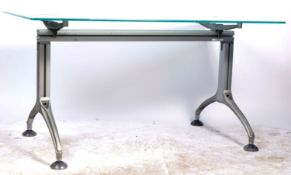 CONTEMPORARY DESIGNER FROSTED GLASS TOP DINING TABLE