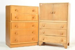 MID CENTURY OAK CHEST OF DRAWERS AND TALLBOY