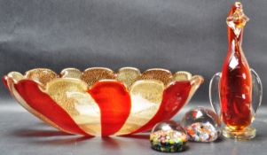 1970'S STUDIO ART GLASS BOWL AND PAPERWEIGHTS