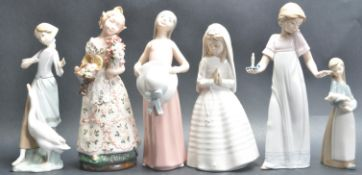 GROUP OF SIX LLADRO & NAO CERAMIC PORCELAIN FIGURINES
