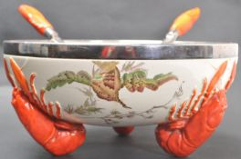 ART DECO WEDGWOOD QUEEN'S WARE LOBSTER BOWL AND UTENSIL