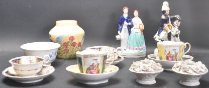 COLLECTION OF CERAMIC ORNAMENTS INCUDING STAFFORDSHIRE FLAT BACKS