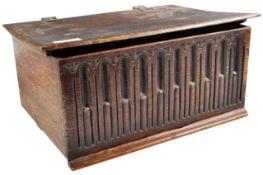 17TH CENTURY JACOBEAN CARVED OAK BIBLE BOX