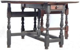 18TH CENTURY OAK DOUBLE DRAWER GATE LEG DINING TABLE