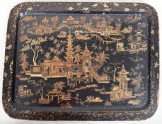 EARLY 19TH CENTURY CHINESE BLACK LACQUER SERVING TRAY